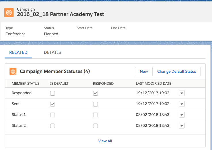 Campaign member status - advanced campaign setup - Salesforce 1 - getawayposts.com