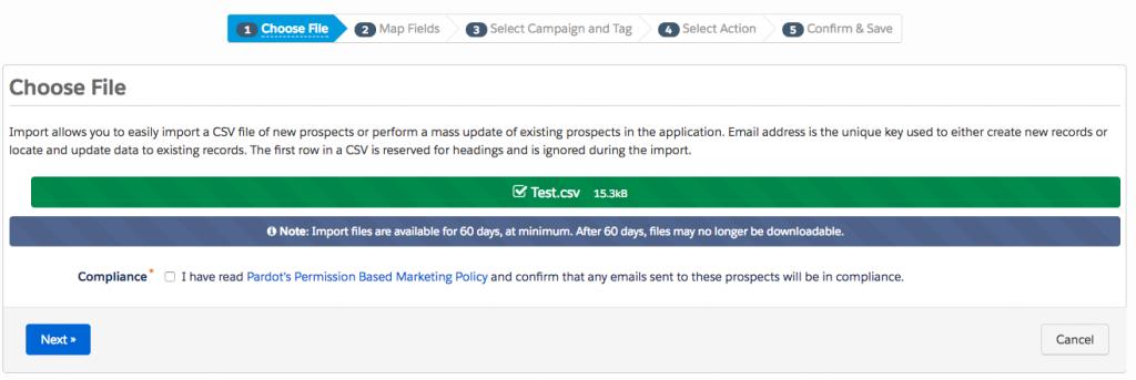 Step 1 - File Import - How to bulk delete Pardot Prospects - getawayposts.com