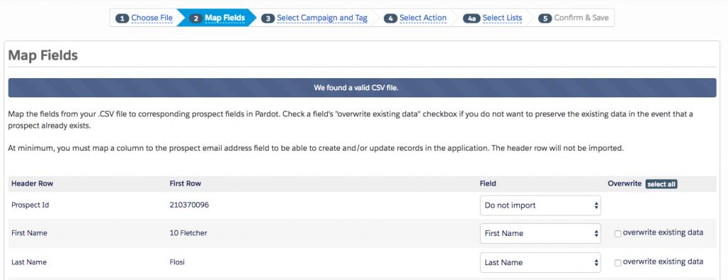 Step 2 - File Import - How to bulk delete Pardot Prospects - getawayposts.com