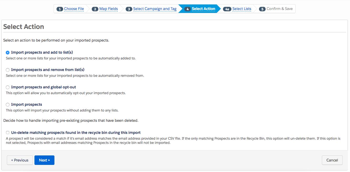 step 4 file import how to bulk delete pardot prospects getawaypostscom